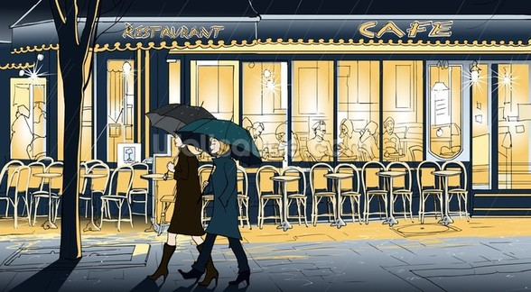 Strolling in the Rain wallpaper mural