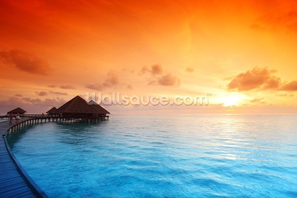 Maldivian Hut Sunrise wallpaper mural