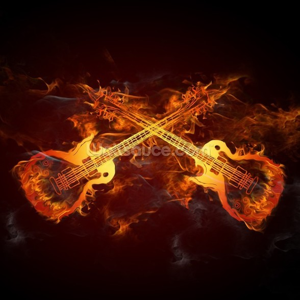 Guitars on Fire mural wallpaper