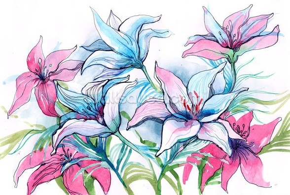 Lily Flowers wall mural