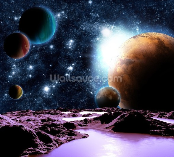 Abstract Planets with Water mural wallpaper