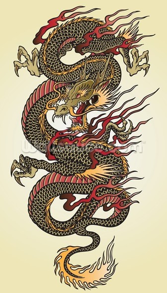 Asian Dragon Tattoo wall mural
