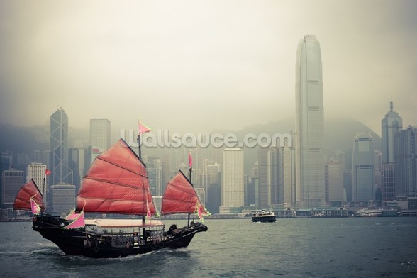 Chinese Sailboat wall mural