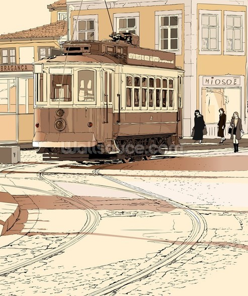 Old Portuguese Tram wall mural