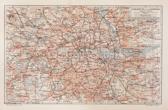 Vintage Map of London wall mural
