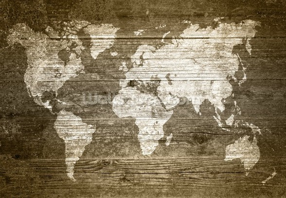 World Map on Wood wall mural