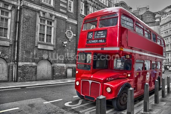 Red London Bus wall mural