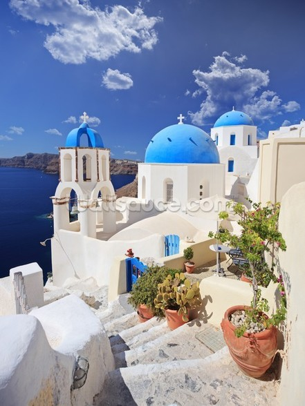 Blue Dome Church, Santorini mural wallpaper