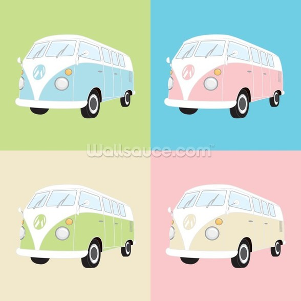 Colourful Campervans wall mural