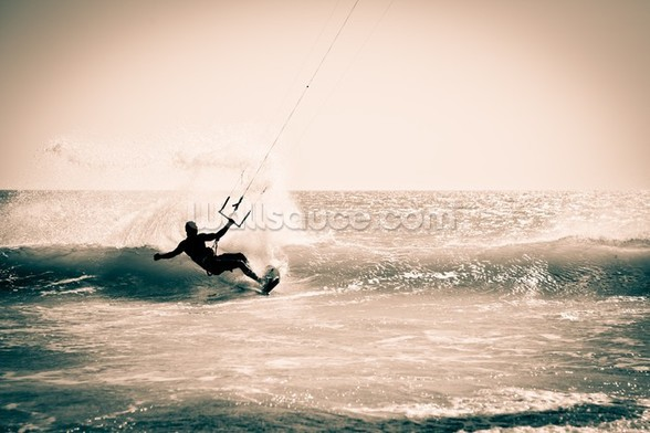 Kitesurfing in Andalusia, Spain. wall mural