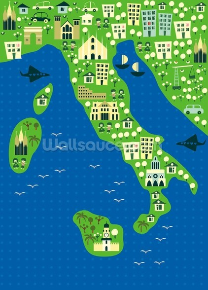 Cartoon map of italy wallpaper mural