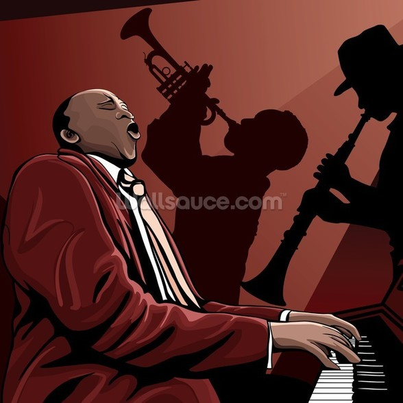 Jazz Band Pianist wall mural