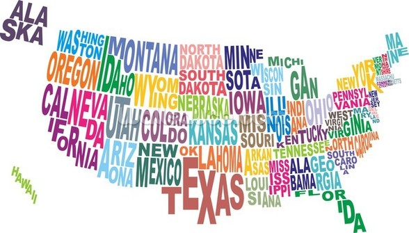 USA Word Cloud Map wallpaper mural