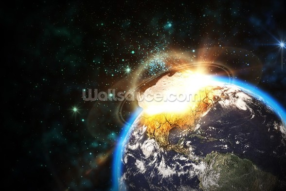 Asteroid Impact from Space wallpaper mural