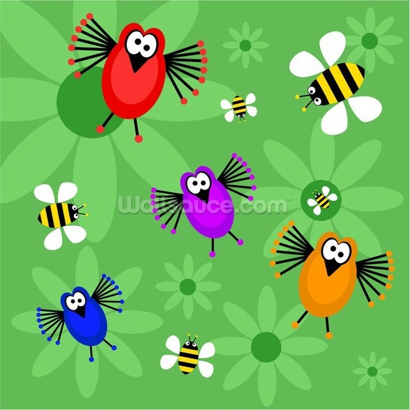 Birds and Bees mural wallpaper