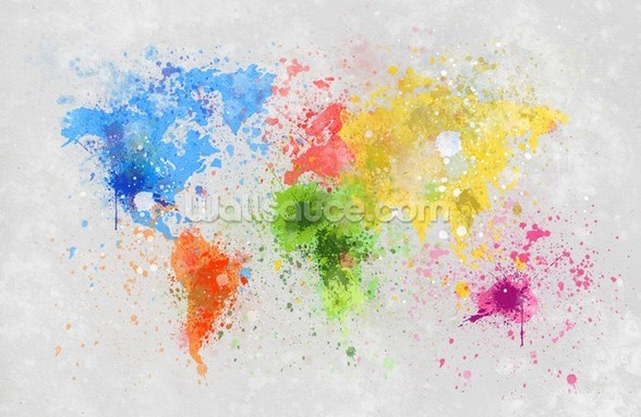 World Map Painting wallpaper mural