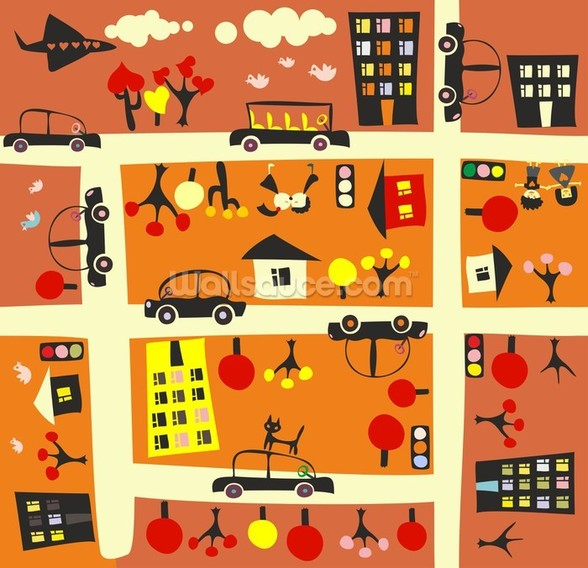 Autumn Street Map wall mural