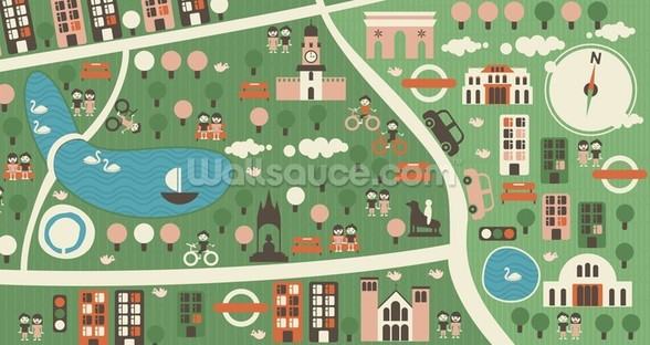 Hyde Park Map wallpaper mural