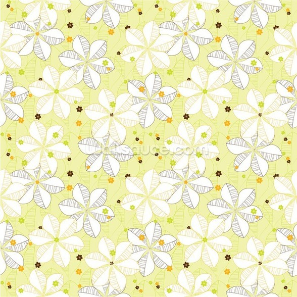 Abstract Floral - Lime mural wallpaper