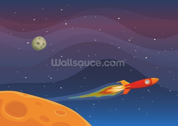 Spaceship Travel In Space wall mural
