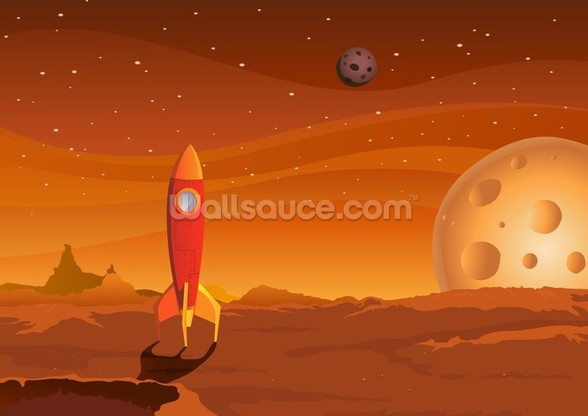 Rocket on Alien Planet wallpaper mural