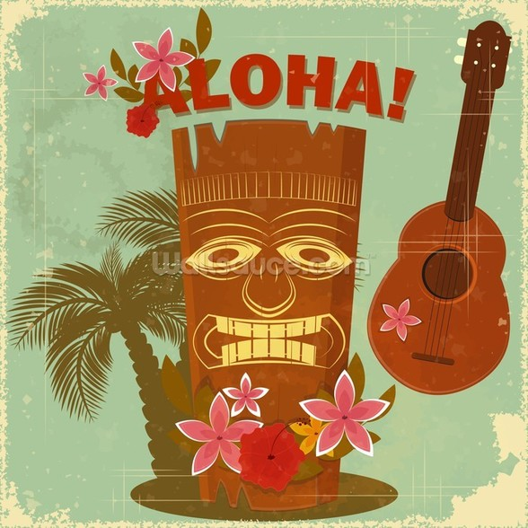 Hawaiian Music mural wallpaper