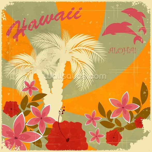 Vintage Hawaiian mural wallpaper