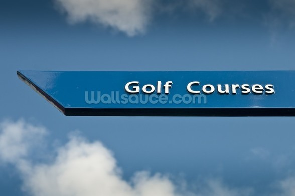 Golf Course Sign wall mural