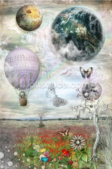 Balloon and butterflies wall mural