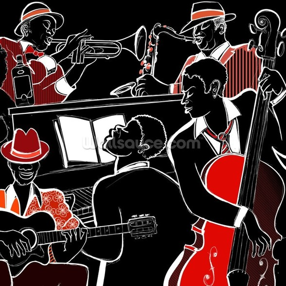 Jazz Band mural wallpaper