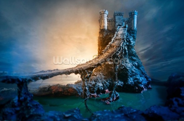 Mysterious Castle and Bridge wall mural