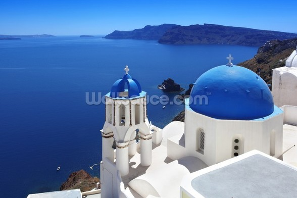 Santorini with Traditional Church in Oia, Greece wallpaper mural