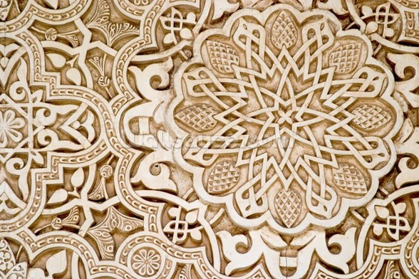 Alhambra Moorish Carved Stone mural wallpaper