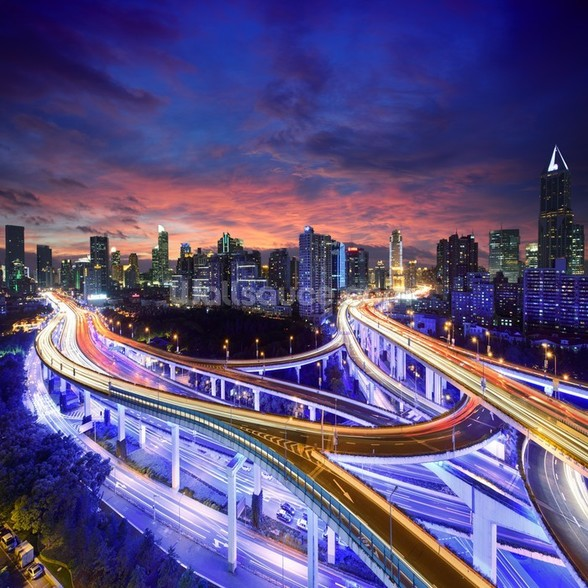 Shanghai Highway Sunset wall mural
