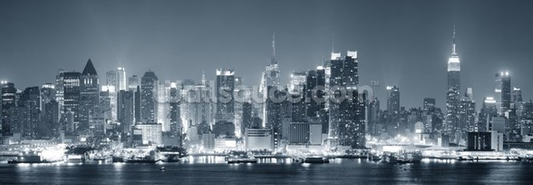 Manhattan Black & White Panoramic wall mural