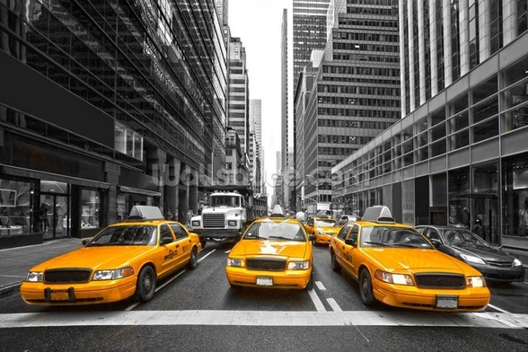 Manhattan Yellow Taxis mural wallpaper