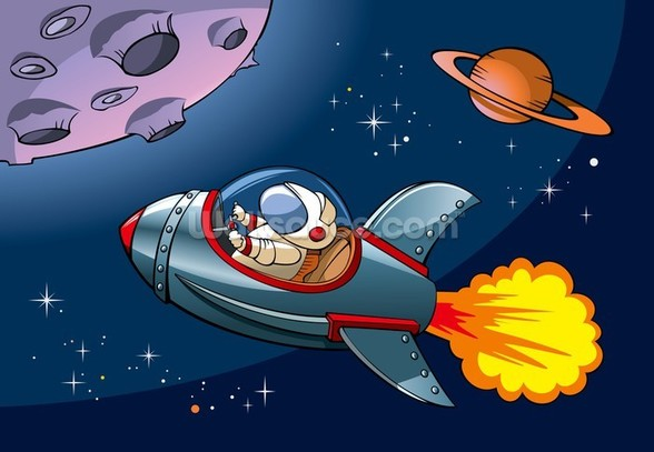 Kids Spaceship wall mural