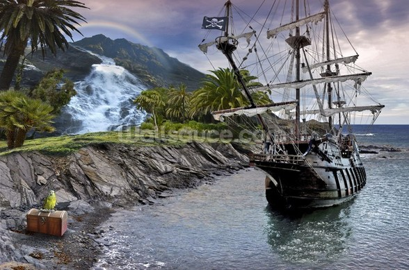 Pirate Ship at Anchor wall mural