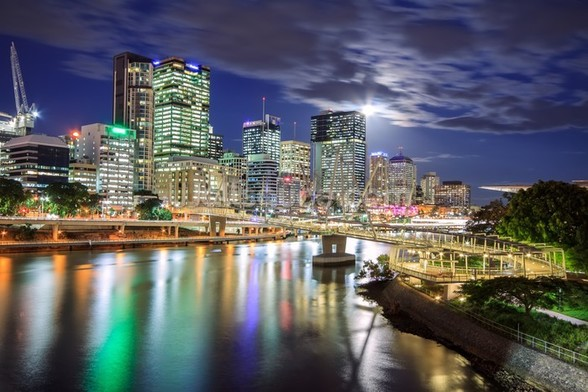 Brisbane at Night mural wallpaper