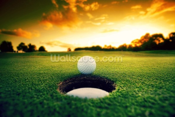 Golf at Sunset wallpaper mural