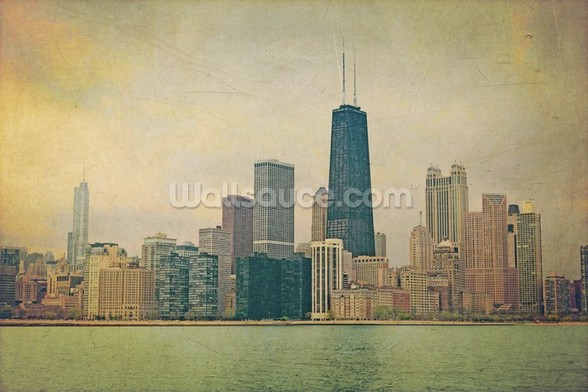 Vintage Chicago wall mural
