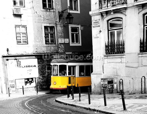 Tram in Colourwash mural wallpaper