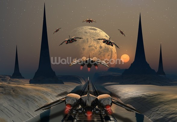 Alien Planet and Space Ships wall mural