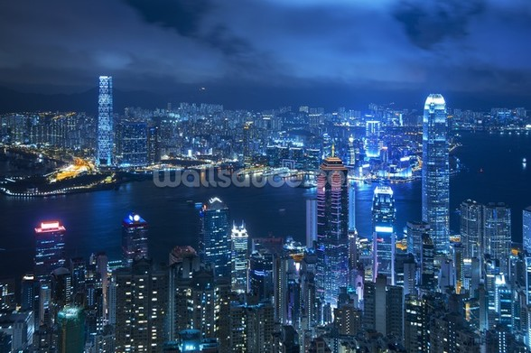 Hong Kong Victoria Harbour mural wallpaper