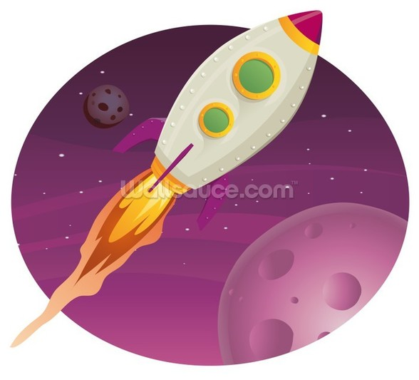 Rocket Ship mural wallpaper