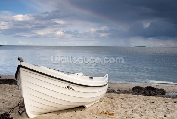 Boat on Beach wall mural