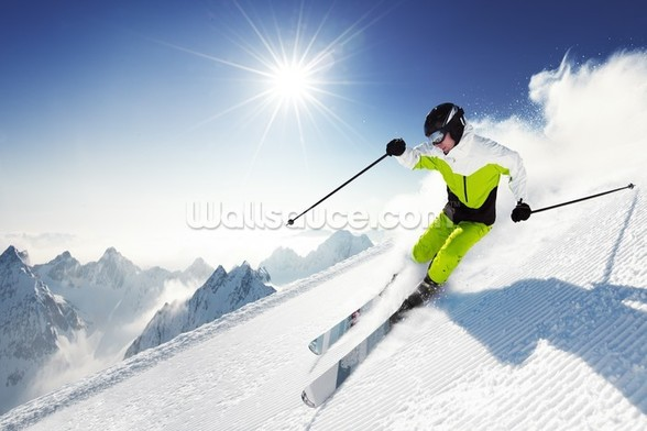 Skier in Mountains wallpaper mural