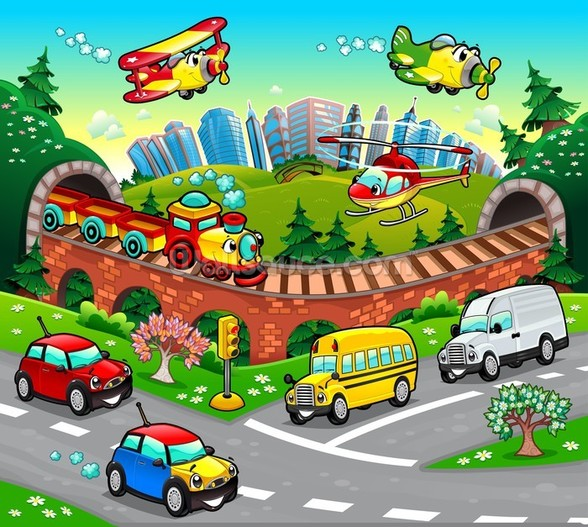 Cartoon Road wall mural