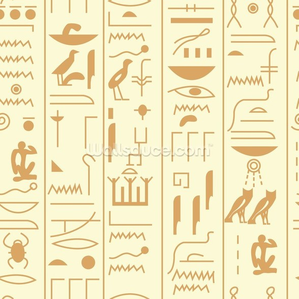 Hieroglyph illustration mural wallpaper