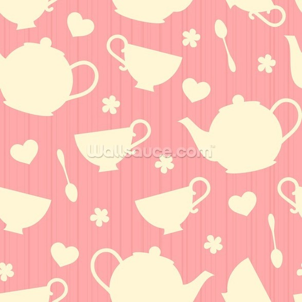 Tea Time - Pink wall mural